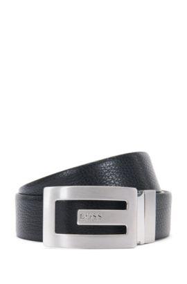 Wendegürtel aus Leder mit markantem Zapfenverschluss: 'Ranny_Sr35_ltgr', Schwarz