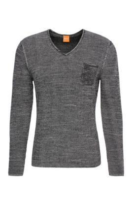 Slim-fit sweater in cotton: 'Akatus', Light Grey