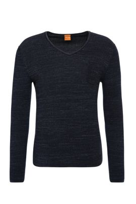 Slim-fit sweater in cotton: 'Akatus', Dark Blue