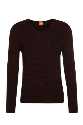 Slim-fit sweater in cotton: 'Akatus', Red