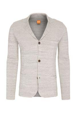 Cardigan mélange in cotone in stile blazer: 'Akuyak', Grigio chiaro