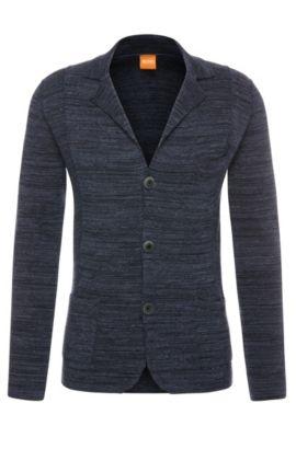 Mottled cardigan in cotton in blazer style: 'Akuyak', Dark Blue