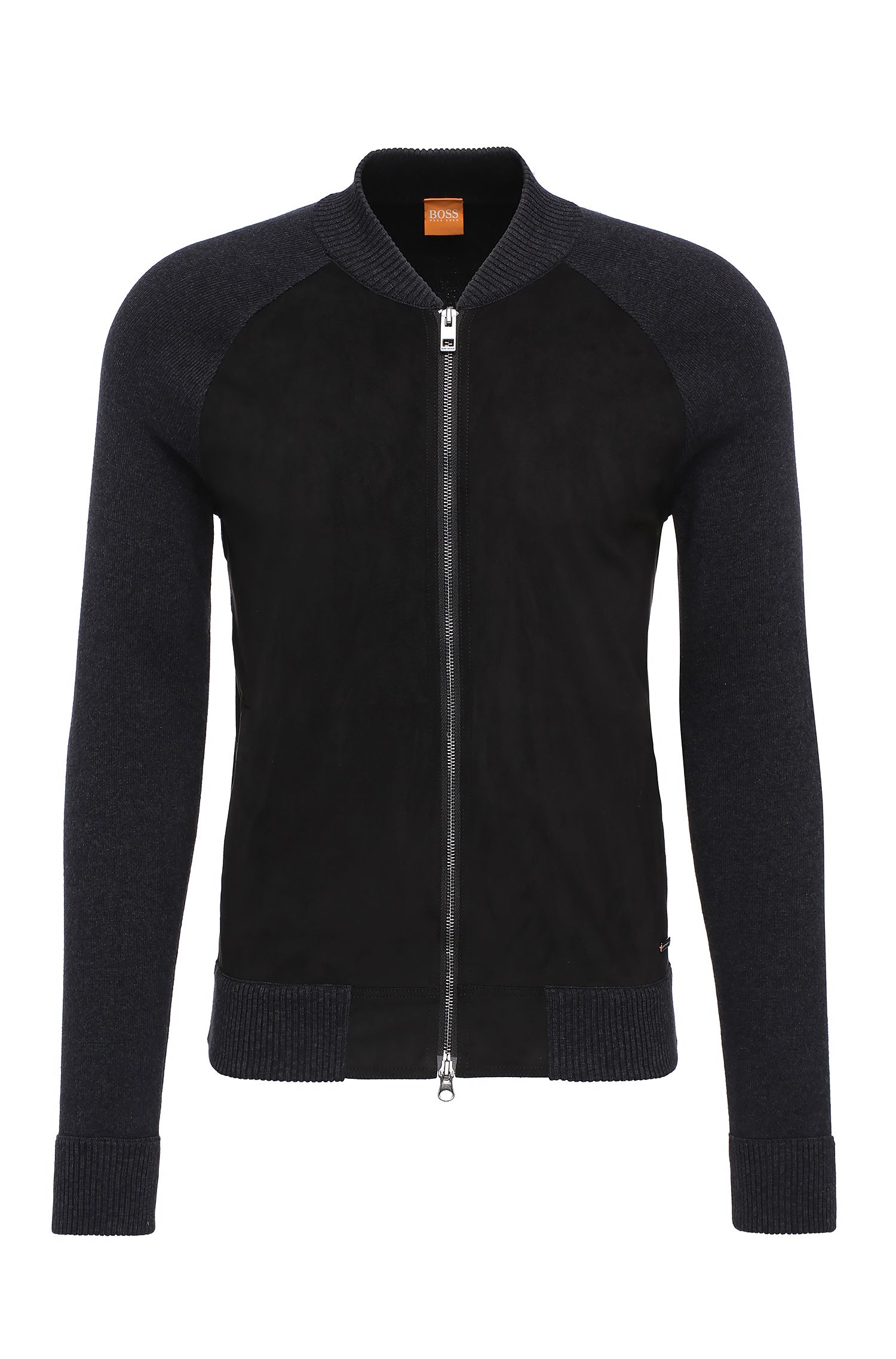 Slim-fit cardigan in cotton with contrasting trim: 'Arbomer'