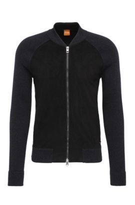 Slim-fit cardigan in cotton with contrasting trim: 'Arbomer', Black