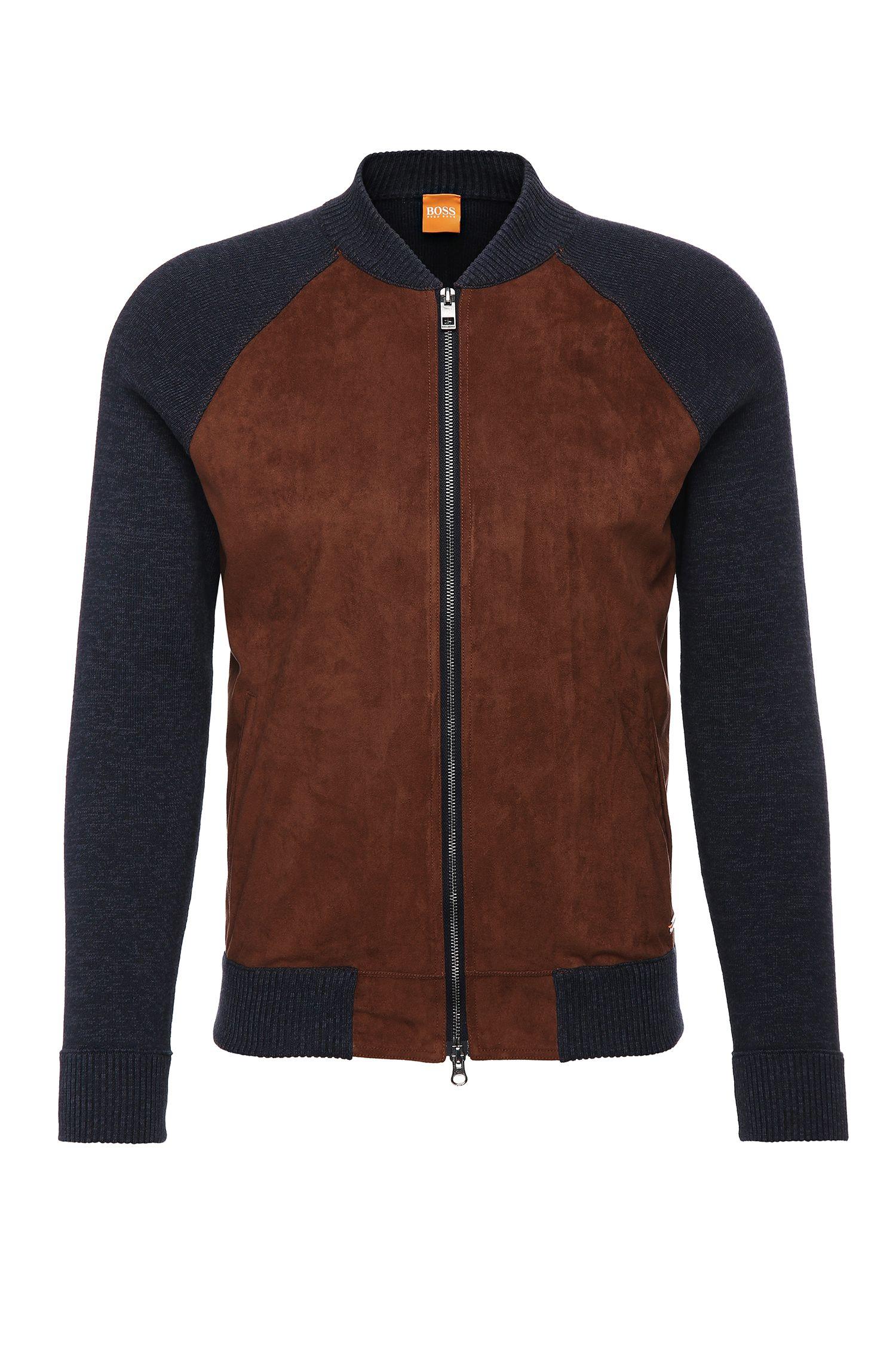 Slim-fit gebreid vest van katoen met contrastpassement: 'Arbomer'