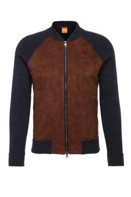 Slim-fit gebreid vest van katoen met contrastpassement: 'Arbomer', Donkerblauw