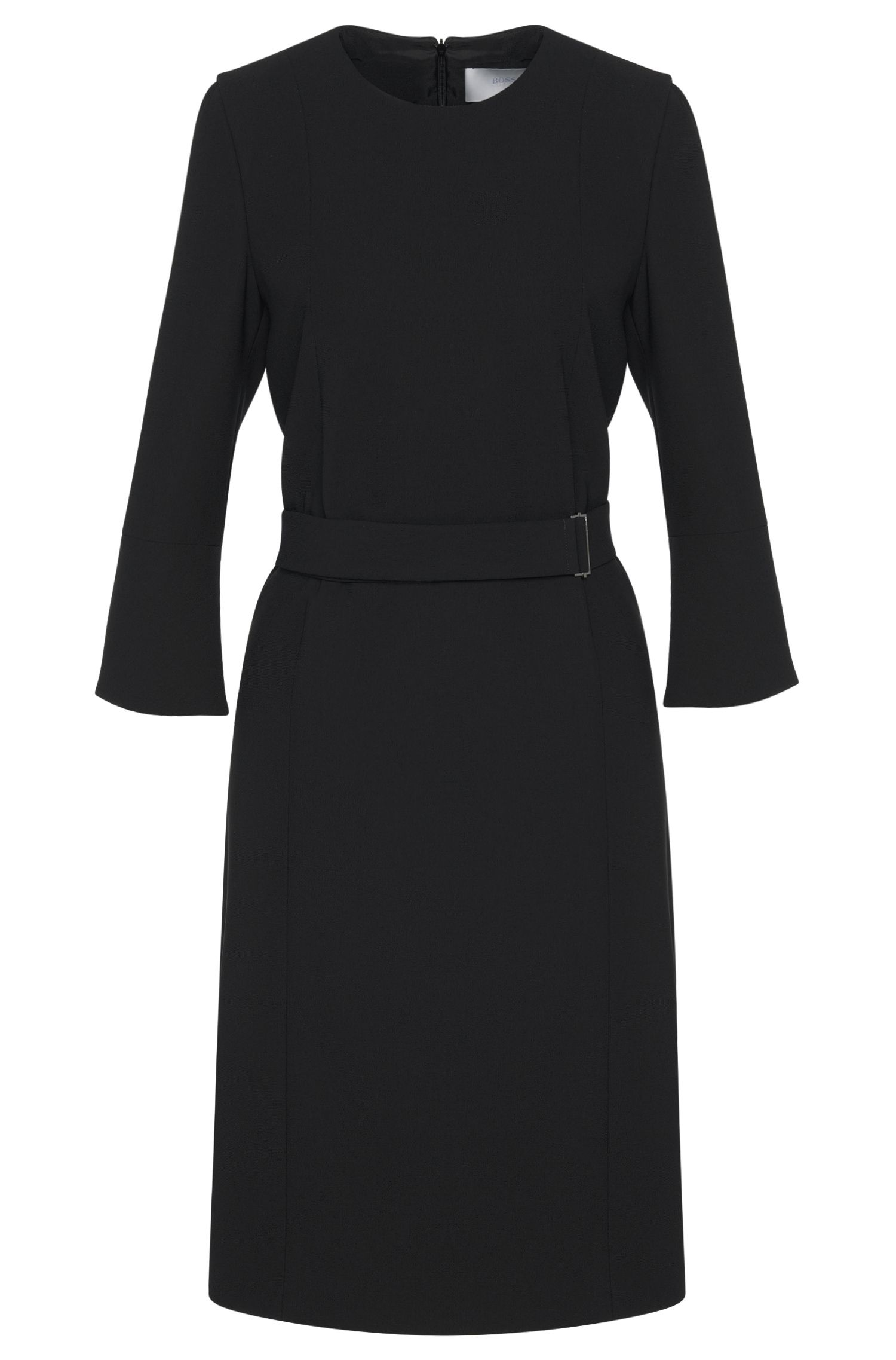 Plain dress with wrap belt and trumpet sleeves: 'Huliana'