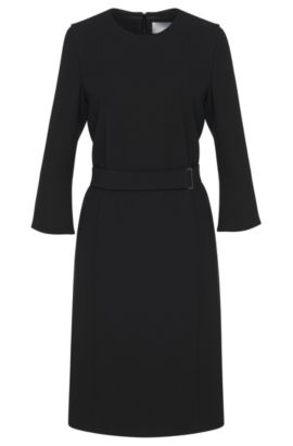 Plain dress with wrap belt and trumpet sleeves: 'Huliana', Black