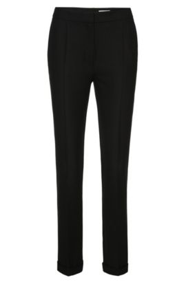 Regular-fit trousers with pressed creases: 'Acnes10', Black