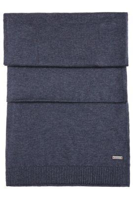 Knit scarf in cotton: 'Kapono', Dark Blue