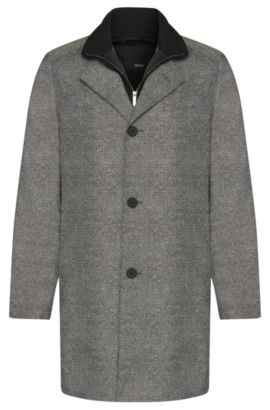Slim-fit coat with a detachable inner section: 'Noa', Grey