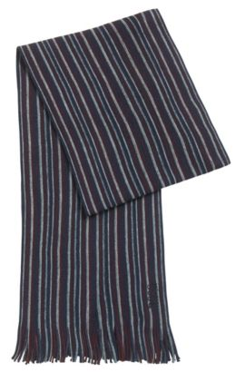 Striped scarf in virgin wool, Dark Blue