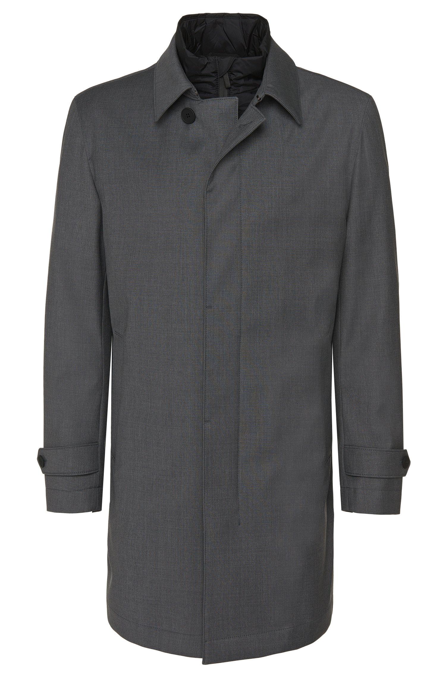 Cappotto impermeabile in misto lana vergine con lato interno estraibile: 'Gadget'
