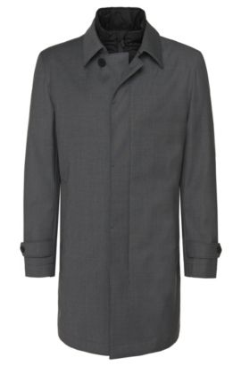 Water-repellent coat in new-wool blend with a detachable inner section: 'Gadget', Grey