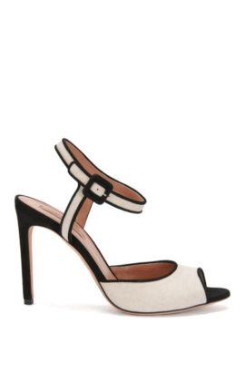 High Heels aus Leder und Canvas: 'Canvas Sandal', Natur