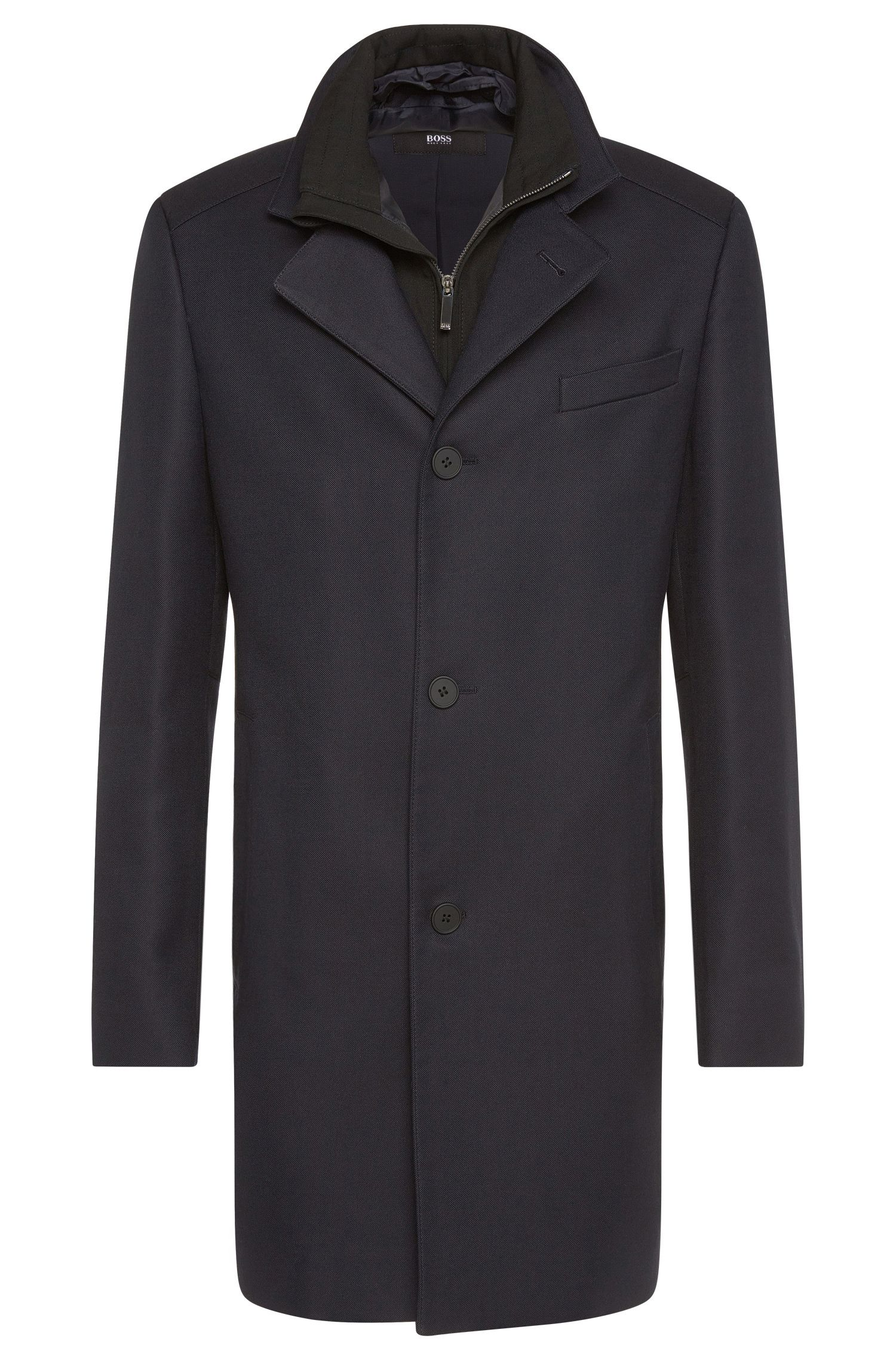 Abrigo slim fit impermeable con aplique extraíble: 'Noa'