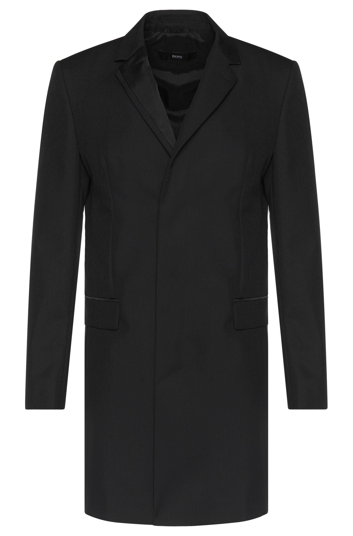 Slim-fit coat in new-wool blend with ribbed detail at the collar: 'Nabor'