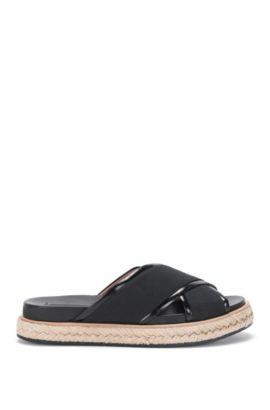 Sandalen van leer en canvas: 'Crisscross Sandal LB', Zwart