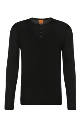 Slim-fit sweater in lightweight knitted cotton: 'Koastly', Black