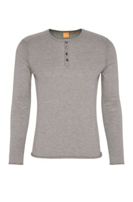 Slim-fit sweater in lightweight knitted cotton: 'Koastly', Light Grey