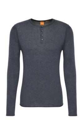 Slim-fit trui van een licht katoenen breisel: 'Koastly', Donkerblauw