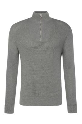 Slim-fit knit sweater in cotton: 'Artric', Light Grey