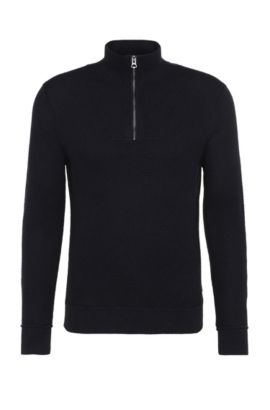 Slim-fit knit sweater in cotton: 'Artric', Dark Blue