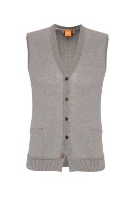 Knitted slim-fit waistcoat in cotton: 'Kralito', Light Grey
