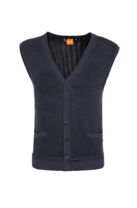 Gilet slim fit in maglia di cotone: 'Kralito', Blu scuro