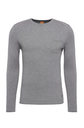 Slim-fit sweater in cotton blend with viscose and silk: 'Krewyt', Light Grey