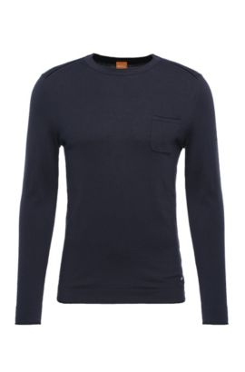 Slim-fit sweater in cotton blend with viscose and silk: 'Krewyt', Dark Blue