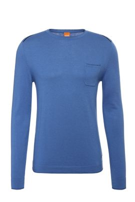 Slim-fit sweater in cotton blend with viscose and silk: 'Krewyt', Open Blue
