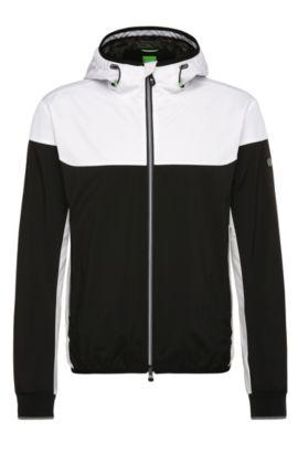 Tweekleurige outdoorjas van een materiaalmix: 'Josso', Zwart