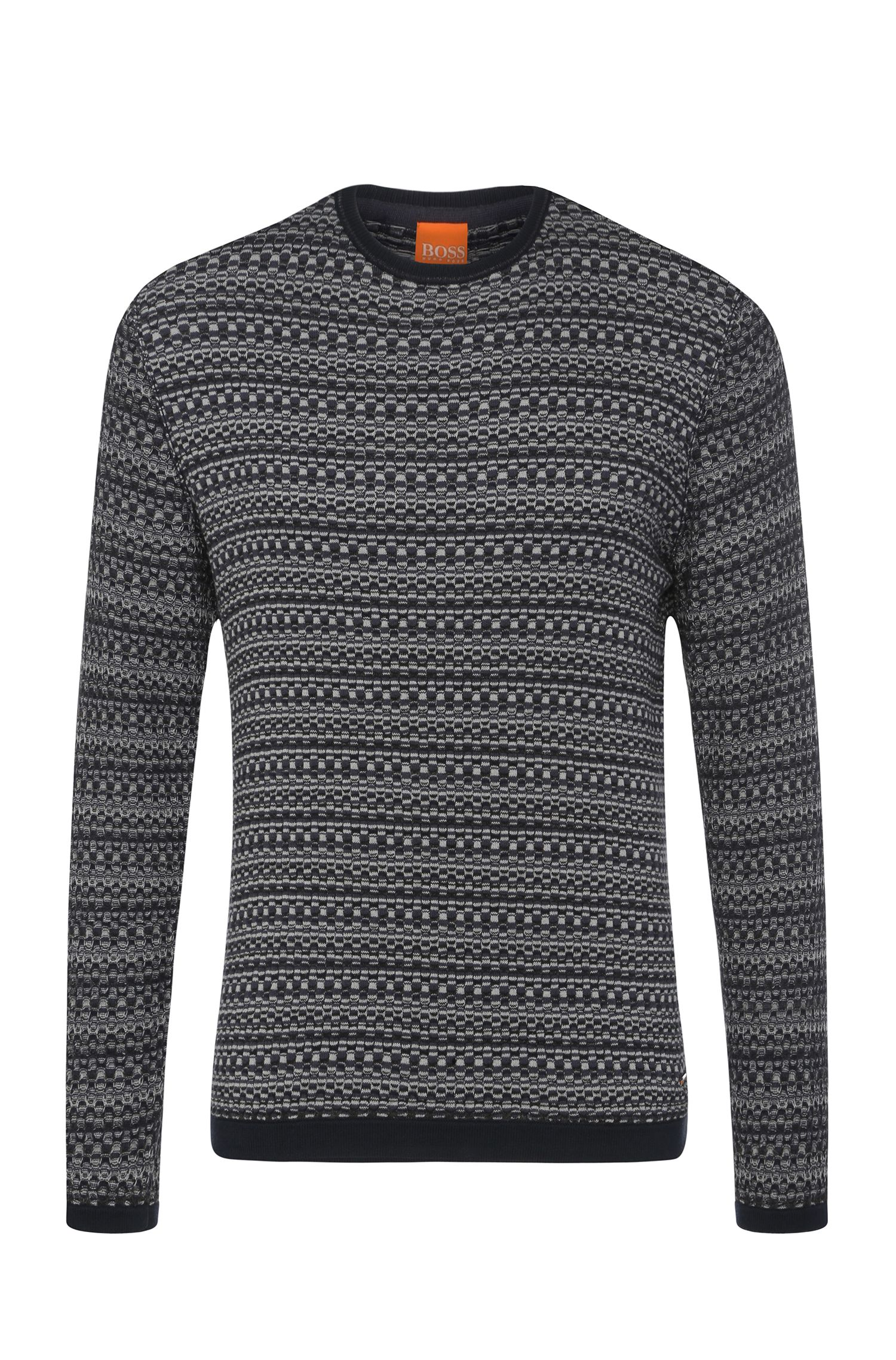 Pullover in maglia in misto cotone con effetto jacquard: 'Awary'