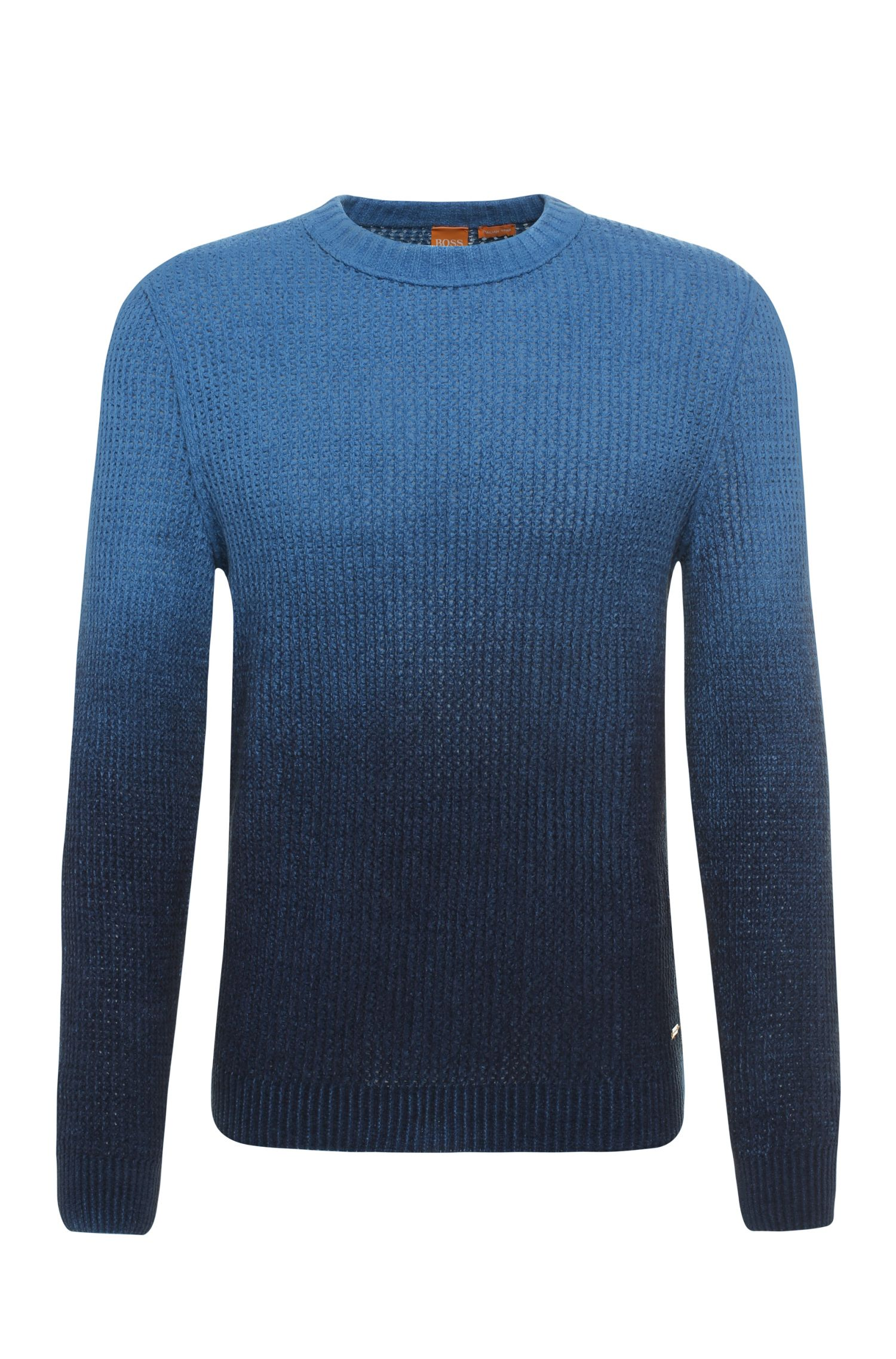 Gebreide slim-fit trui van katoen met licht kleurverloop: 'Kavigrado'