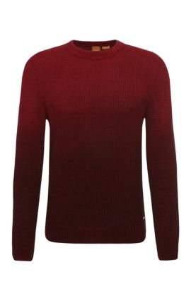 Slim-fit knit sweater in cotton with subtle colour graduation: 'Kavigrado', Red