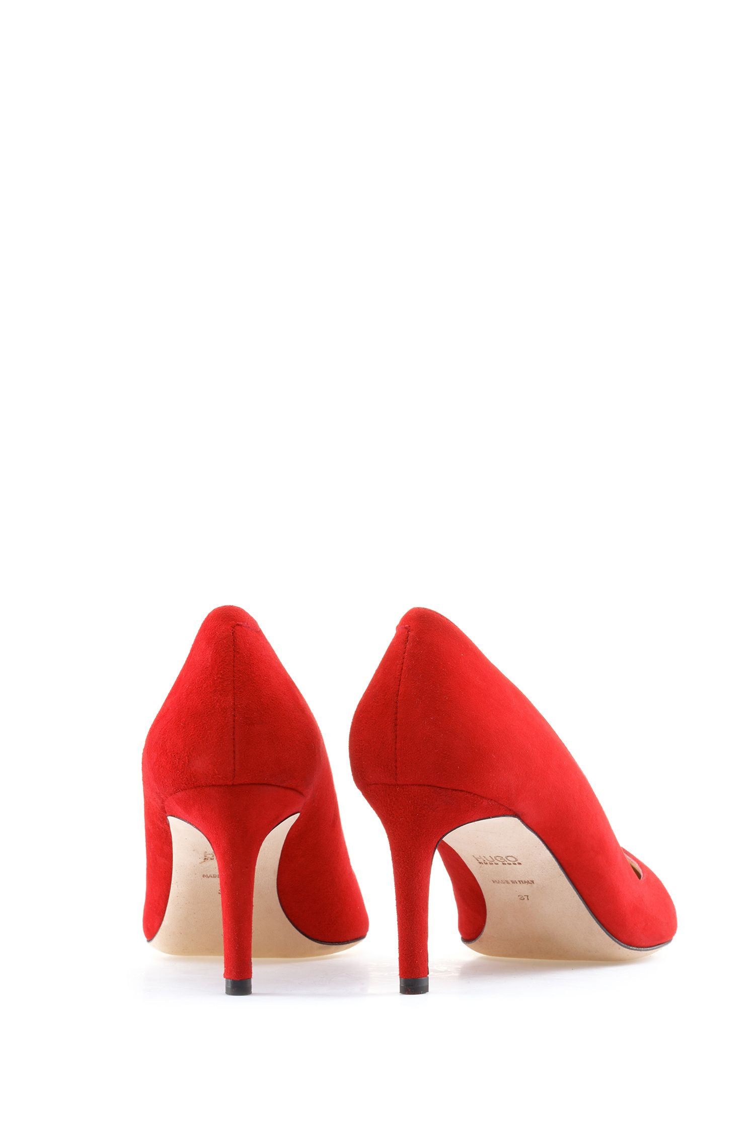 Suede pointed-toe pumps with full-leather sole, Red