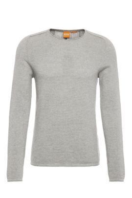 Gestrickter Slim-Fit Pullover aus Baumwolle: ´Kusvet`, Hellgrau