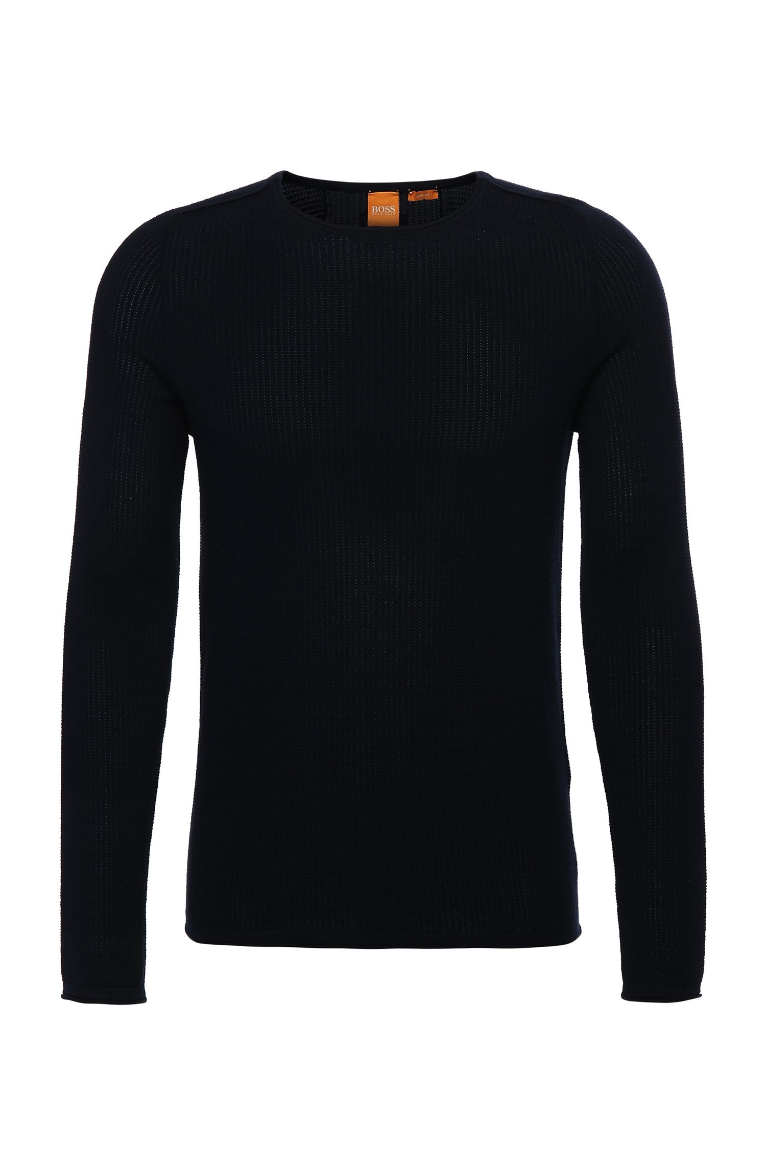 Knitted slim-fit sweater in cotton: 'Kusvet'