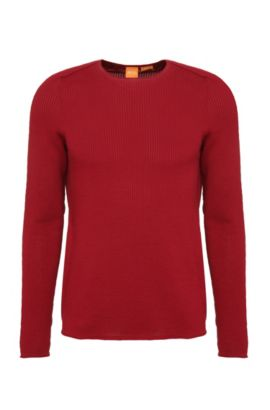 Knitted slim-fit sweater in cotton: 'Kusvet', Red