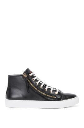 High-top leather trainers with zips: 'Nycole-C', Black
