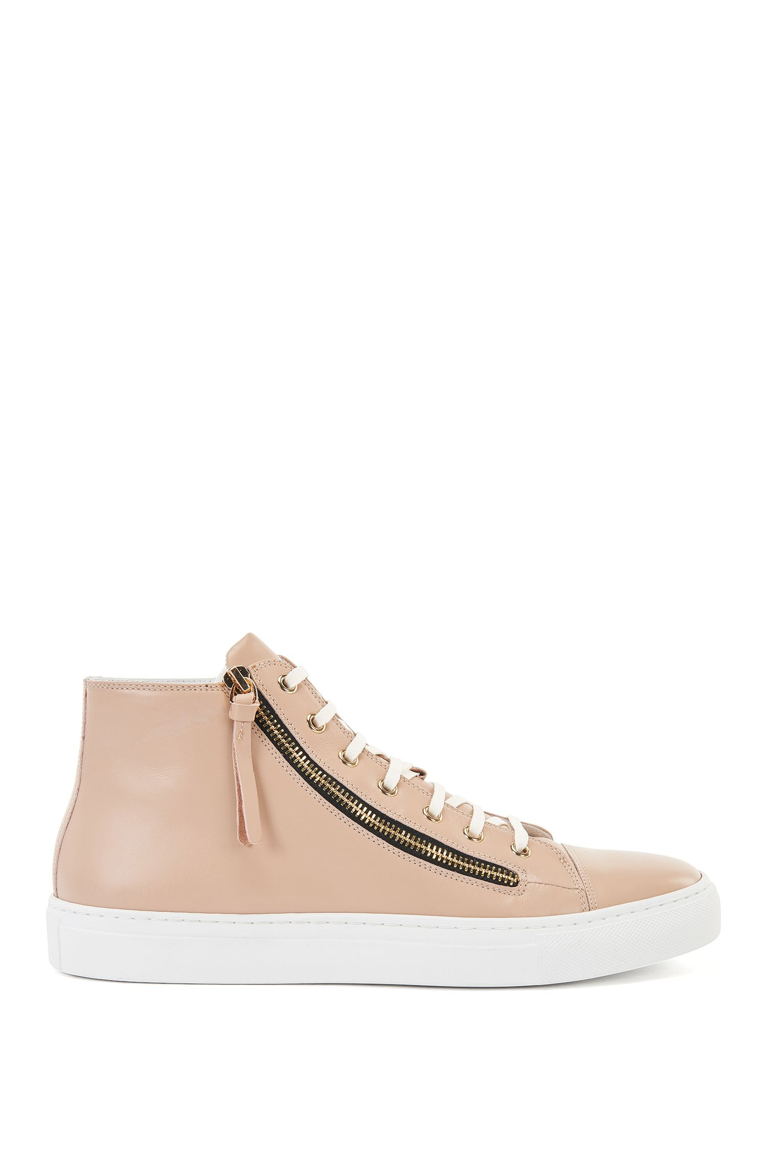 High-top leather trainers with zips: 'Nycole-C'