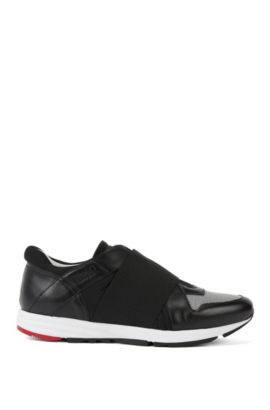 Leather trainers with elastic trim: 'Asya-E', Black