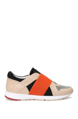 Leather trainers with elastic trim: 'Asya-E', Light Beige