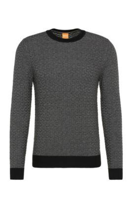 Slim-Fit Pullover aus Baumwoll-Mix mit Viskose und Seide: ´Kuvudo`, Schwarz