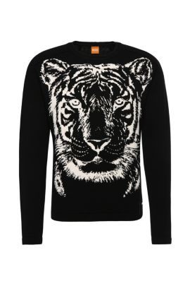Regular-Fit Baumwollpullover im Animal-Design: ´Kiger`, Schwarz