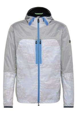 Hooded outdoor bomber jacket in material blend: 'Jaxim', Light Grey