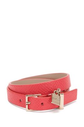 Leather bracelet with small pendant: 'Berlin Bracelet-FPA', Pink