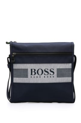 Small shoulder bag in fabric blend in logo design: 'Pixel JB zip env', Dark Blue