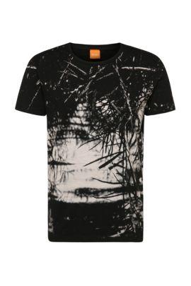Camiseta relaxed fit en algodón con estampado: 'Trueman', Negro